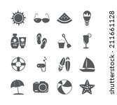 summer beach icon set  vector... | Shutterstock .eps vector #211661128