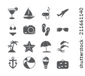 summer beach icon set  vector... | Shutterstock .eps vector #211661140