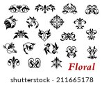 floral ornamental elements and...