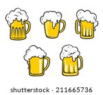 glass pint tankards of frothy... | Shutterstock .eps vector #211665736