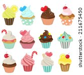 set of yummy cupcake  vector... | Shutterstock .eps vector #211675450