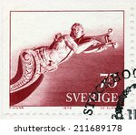 Small photo of SWEDEN - CIRCA 1972: A stamp printed by SWEDEN shows Figurehead mounted under the bowsprit of the Schooner Amphion (1800). Carving by Anonymous Artist, circa 1972