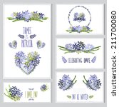 elegant cards with hyacinth... | Shutterstock .eps vector #211700080