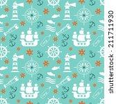 seamless nautical pattern | Shutterstock .eps vector #211711930