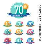flat design anniversary emblems.... | Shutterstock .eps vector #211712830