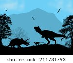 dinosaurs silhouettes  ... | Shutterstock .eps vector #211731793