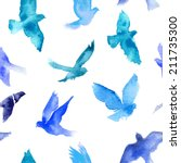 watercolor birds seamless... | Shutterstock .eps vector #211735300