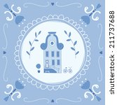 delft blue tile with a typical... | Shutterstock .eps vector #211737688