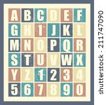 stylish retro alphabet. vector... | Shutterstock .eps vector #211747090