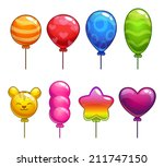 set of cute cartoon balloons ...