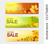 vector banners. autumn sale. ... | Shutterstock .eps vector #211756843