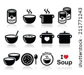soup in bowl  can and pot  ... | Shutterstock .eps vector #211771243