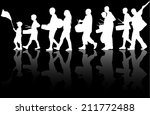 playing people silhouettes | Shutterstock .eps vector #211772488