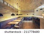 Stock photo modern restaurant designed in wooden texture 211778680