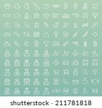 set of 100 minimal universal... | Shutterstock .eps vector #211781818