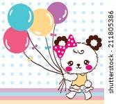 Stock vector cute bear cartoon holding balloons on blue polka dots background 211805386