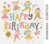 happy birthday background.... | Shutterstock .eps vector #211817113