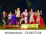 Happy kids dancing around...