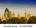 tower of london with modern... | Shutterstock . vector #211825900