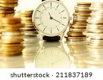 clock and stacks of coins  ... | Shutterstock . vector #211837189