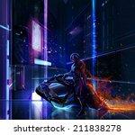 Sci Fi Neon Warrior On Bike....