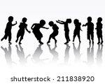 children silhouettes | Shutterstock .eps vector #211838920