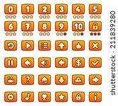 orange game buttons set