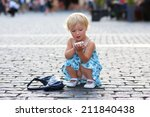 beautiful little child  blonde... | Shutterstock . vector #211840438