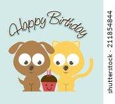 birthday design over blue... | Shutterstock .eps vector #211854844