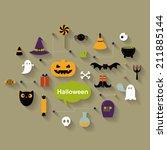 set of halloween  icons | Shutterstock .eps vector #211885144