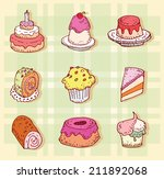 sweets icons set  vector... | Shutterstock .eps vector #211892068