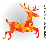 deer in polygon vector... | Shutterstock .eps vector #211893124