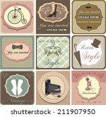 vintage invitation card set.... | Shutterstock .eps vector #211907950