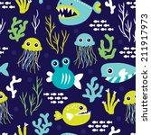 seamless kids marine blue under ... | Shutterstock .eps vector #211917973