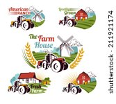 set of retro farm fresh emblems ... | Shutterstock .eps vector #211921174