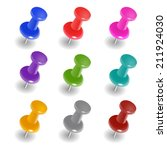 set of push pins in different... | Shutterstock .eps vector #211924030