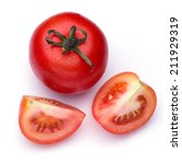 red tomato vegetable with cut... | Shutterstock . vector #211929319
