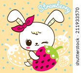 Stock vector cute rabbit cartoon hold strawberry on polka dots background 211933570