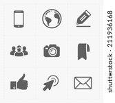 modern  flat social icons set... | Shutterstock .eps vector #211936168