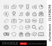 doodle mobile apps icons set | Shutterstock .eps vector #211938298