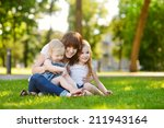 young beautiful woman and two... | Shutterstock . vector #211943164