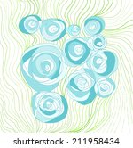 hand drawn blue roses  abstract ...