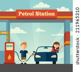 young man helps girl to fuel... | Shutterstock . vector #211965310