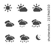 weather icons set black simple... | Shutterstock .eps vector #211966510
