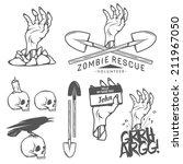 funny halloween zombie labels ... | Shutterstock . vector #211967050