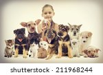 Stock photo children and pets 211968244