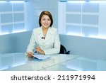 pretty television announcer at... | Shutterstock . vector #211971994