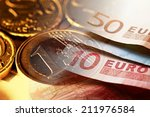 euro coin on stock chart....