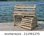 Lobster Traps On A Dock In...