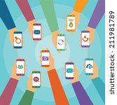 concept of modern mobile... | Shutterstock . vector #211981789